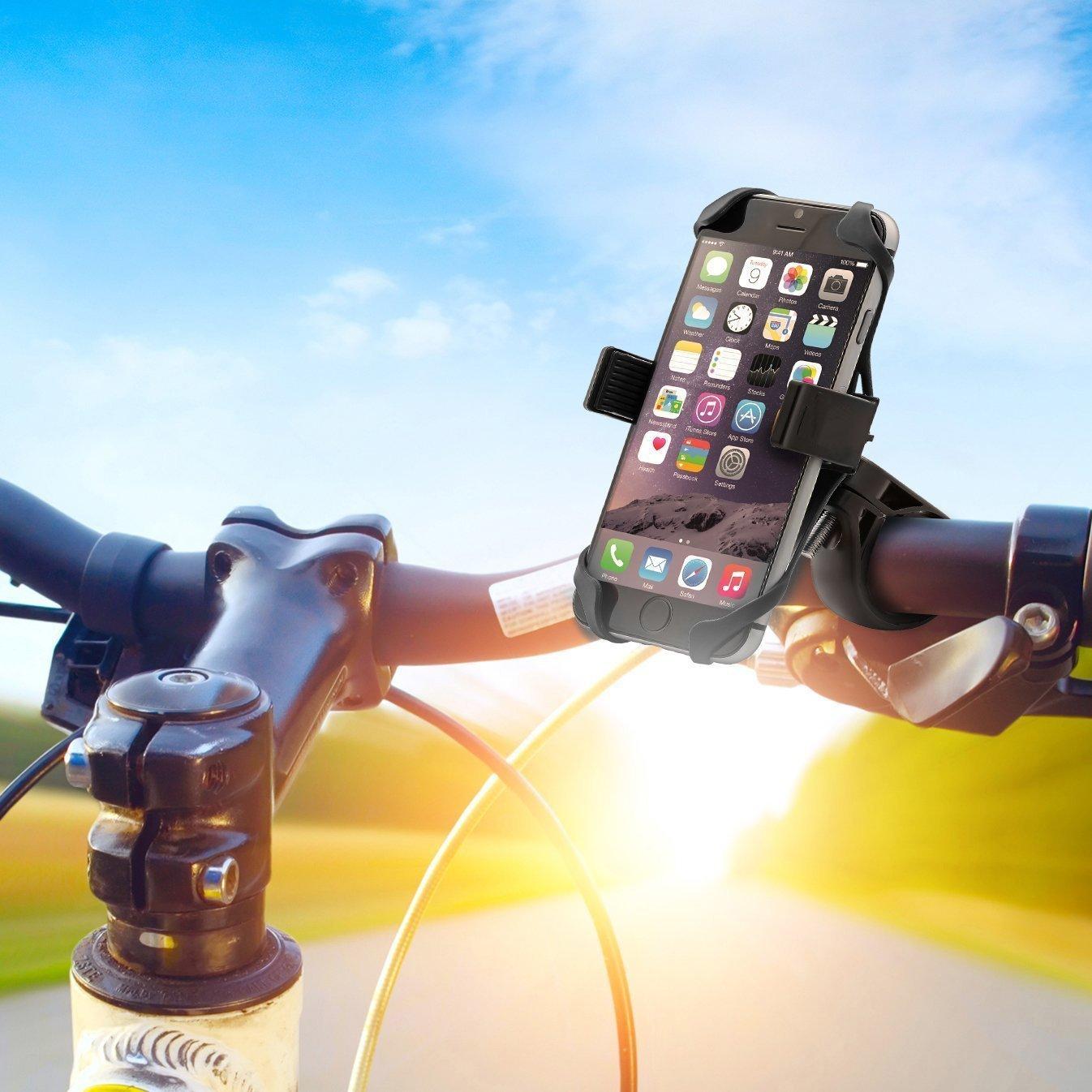 自転車用スマホホルダーを使ってiPhoneを取り付けたらナビ付きママチャリに大変身したよ